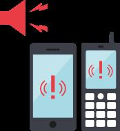 警報の発報、緊急地震速報と連動し、対象者に警報を通知